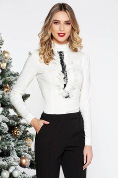 Fehér Fofy irodai női ing szűk szabás rugalmas pamut csipke díszítéssel hosszú ujjakkal