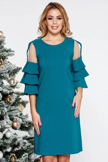 Türkiz LaDonna elegáns ruha egyenes szabás enyhén elasztikus szövet belső béléssel tűl kiegészítővel