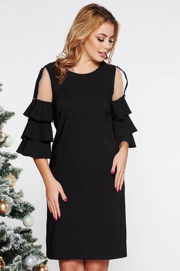Fekete LaDonna elegáns ruha egyenes szabás enyhén elasztikus szövet belső béléssel tűl kiegészítővel