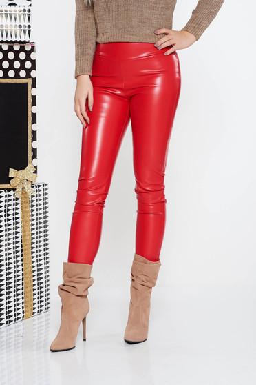 Piros PrettyGirl casual jégernadrág műbőr derékban rugalmas szűk szabás