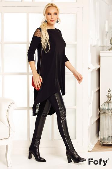 Fekete Fofy casual hosszú bő szabású asszimmetrikus női blúz enyhén rugalmas anyag