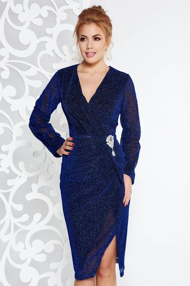 Kék Artista alkalmi midi ruha fényes anyag bross kiegészítővel v-dekoltázzsal
