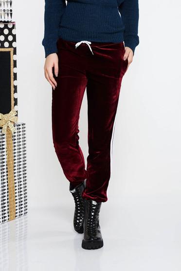Burgundy SunShine casual bársony nadrág zsebes derékban rugalmas