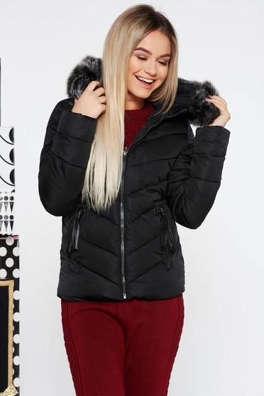 Fekete SunShine vízhatlan rövid dzseki belső béléssel zsebekkel