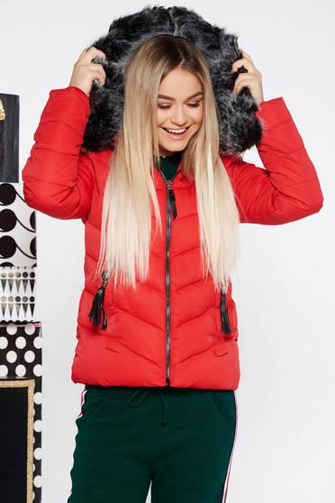 Piros SunShine vízhatlan rövid dzseki belső béléssel zsebes