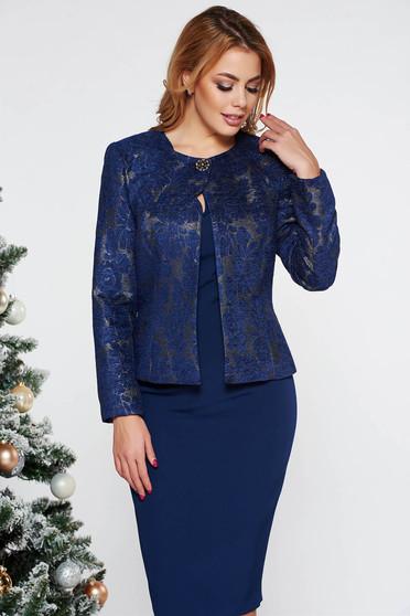 Kék elegáns női kosztüm rugalmatlan szövet lamé szállal belső béléssel
