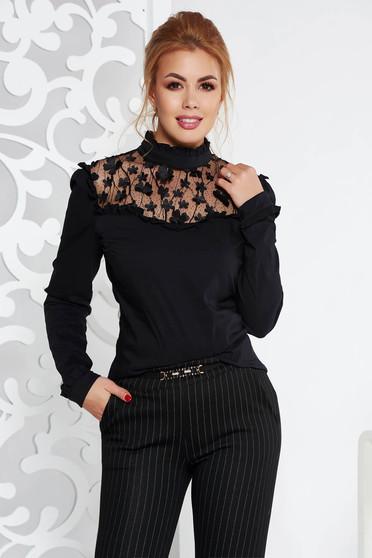Fekete Fofy elegáns női blúz szűk szabás virágos díszekkel