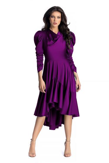Lila Ana Radu aszimetrikus ruha szatén anyagból fodrok a ruha alján