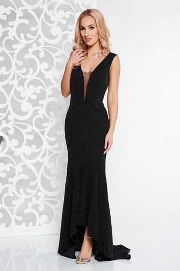 Fekete Artista alkalmi ruha enyhén rugalmas anyag szivacsos mellrész fodrok a ruha alján