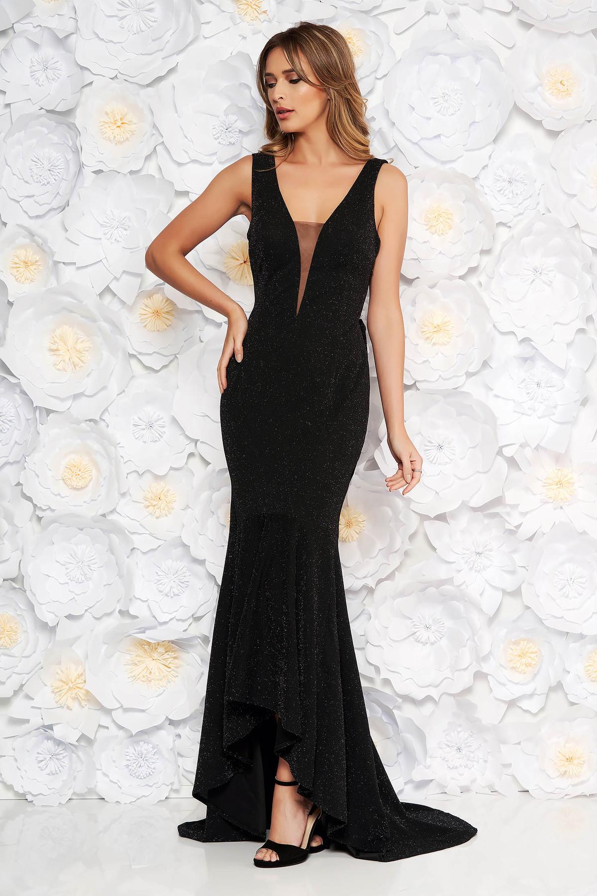 f11ace4307 Fekete Artista alkalmi ruha enyhén rugalmas anyag szivacsos mellrész fodrok  a ruha alján