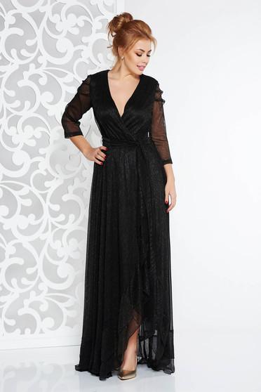 Fekete Artista alkalmi ruha fényes anyag lamé szál belső béléssel övvel ellátva