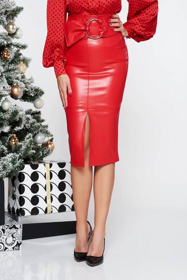 Piros PrettyGirl magas derekú midi műbőr szoknya szűk szabás belső béléssel övvel ellátva