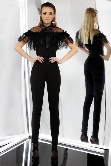 Fekete PrettyGirl alkalmi overál szűk szabás enyhén elasztikus szövet csipke díszítéssel