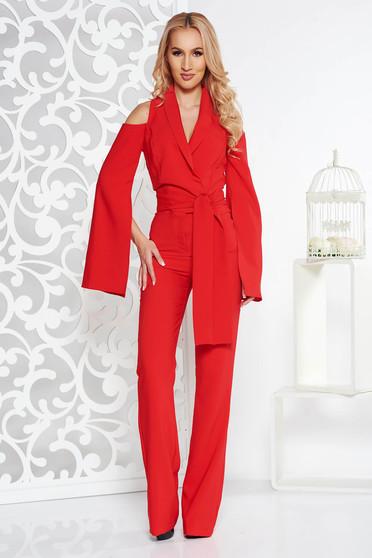 Piros PrettyGirl alkalmi overál szűk szabás enyhén elasztikus szövet kivágott vállrésszel