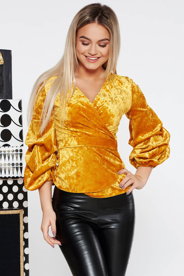 Arany StarShinerS party bársony női blúz szűk szabással