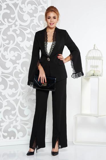 Fekete Artista elegáns női kosztüm rugalmatlan szövet csipke díszítéssel