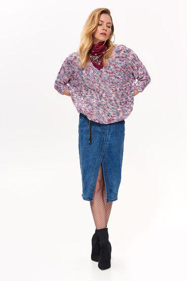 Lila Top Secret pulóver casual bő szabású kötött anyag háromnegyedes ujjú
