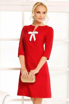 Burgundy Fofy hétköznapi a-vonalú ruha enyhén elasztikus szövet masni díszítéssel