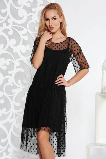 Fekete party ruha bő szabású tüll pöttyökkel belső béléssel