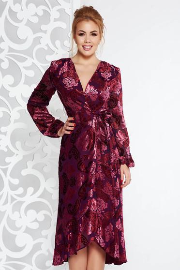 Burgundy elegáns átfedéses ruha bársonyos anyag belső béléssel v-dekoltázzsal