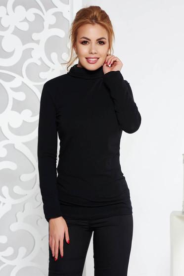 Fekete casual magasnyakú női blúz enyhén elasztikus pamut szűk szabás hosszú ujjú