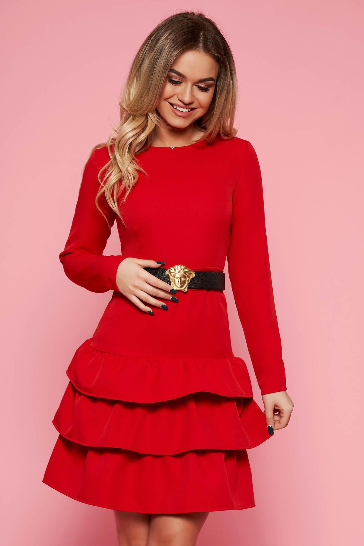 5d0945cdd8 Piros party ruha enyhén elasztikus szövet szűk szabás öv típusú  kiegészítővel
