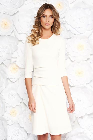 Fehér StarShinerS hétköznapi midi ruha enyhén rugalmas anyag belső béléssel hosszú ujjú