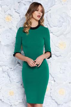 Zöld StarShinerS ruha irodai midi szűk szabás enyhén elasztikus szövet fodros