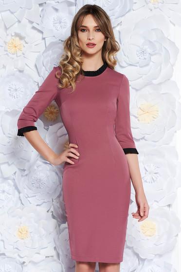 Lila StarShinerS ruha irodai midi szűk szabás enyhén elasztikus szövet fodros