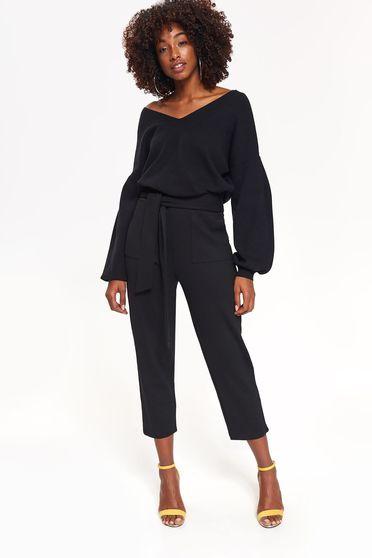 Fekete Top Secret pulóver casual bő szabású finom tapintású anyag v-dekoltázzsal