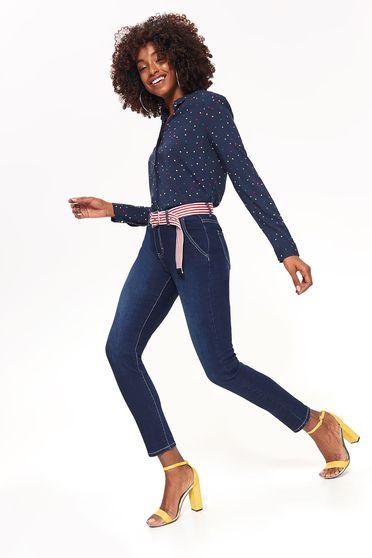 Kék Top Secret farmer skinny farmer enyhén elasztikus pamut normál derekú zsebes öv típusú kiegészítővel