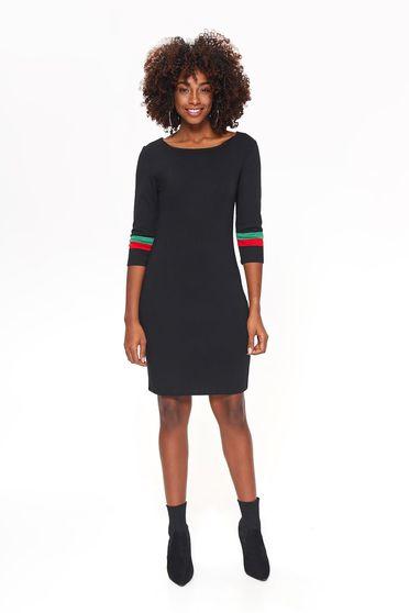 Fekete Top Secret ruha casual midi szűk szabás enyhén rugalmas anyag háromnegyedes ujjú