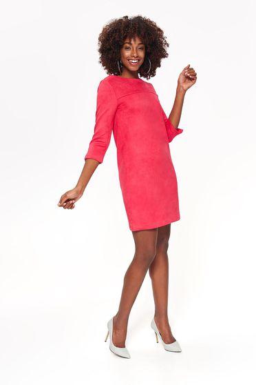 Korall Top Secret ruha hétköznapi puha anyag egyenes szabás háromnegyedes ujjú