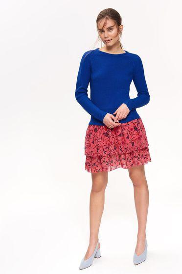 Kék Top Secret pulóver casual szűk szabású kötött anyag hosszú ujjak