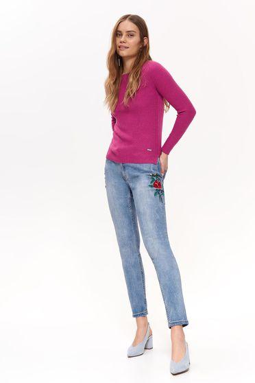 Lila Top Secret pulóver casual szűk szabású kötött anyag hosszú ujjak