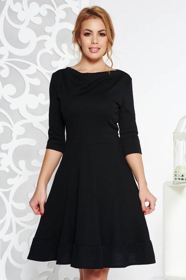Fekete StarShinerS midi irodai harang ruha rugalmas anyag háromnegyedes ujjú