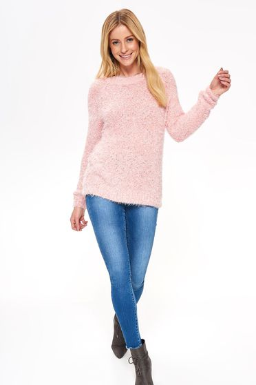 Pink Top Secret pulóver casual bő szabású puffos anyag hosszú ujjak