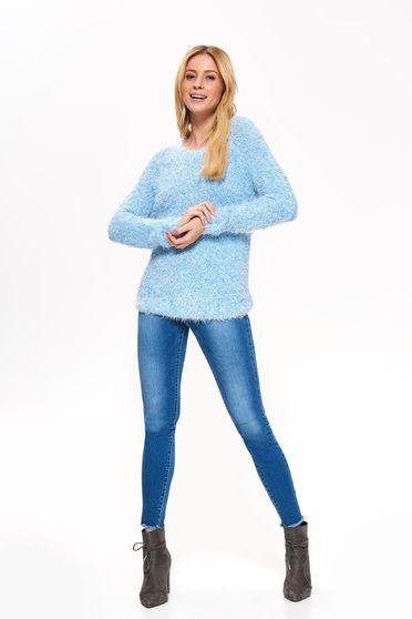 Kék Top Secret pulóver casual bő szabású puha anyag hosszú ujjú