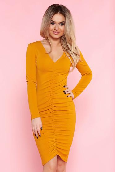 Narancs Top Secret ruha hétköznapi szűk szabás vékony anyag v-dekoltázzsal