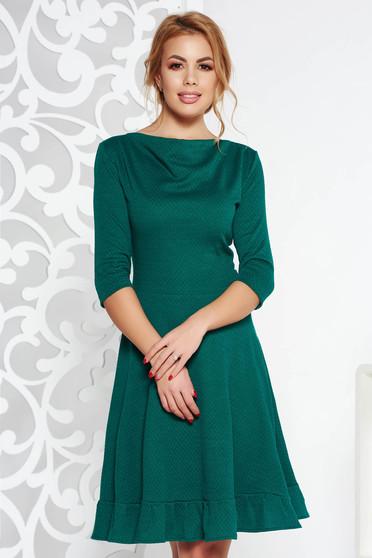 Zöld StarShinerS midi irodai harang ruha rugalmas anyag háromnegyedes ujjú