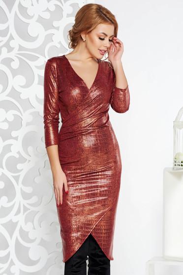 Piros StarShinerS midi party ruha szűk szabás fényes anyag v-dekoltázzsal