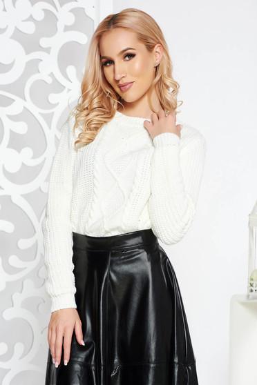 Fehér casual rövid pulóver kötött anyag bő szabás
