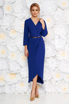 Kék elegáns ruha enyhén rugalmas szövet belső béléssel öv típusú kiegészítővel