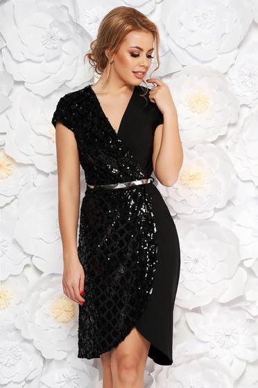 Fekete alkalmi ruha v-dekoltázzsal enyhén elasztikus pamut flitteres díszítéssel