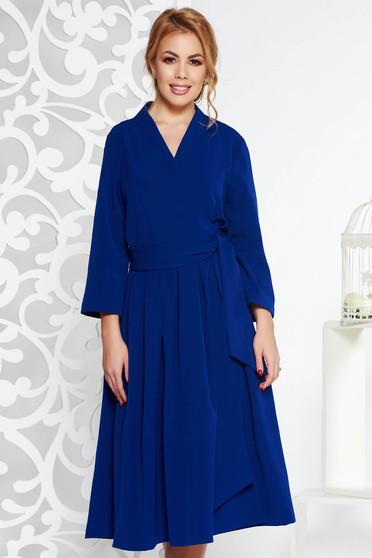 Kék elegáns harang ruha nem elasztikus pamut v-dekoltázzsal midi