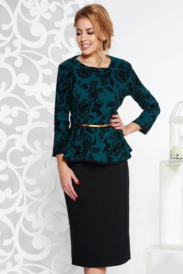 Sötétzöld alkalmi női kosztüm enyhén elasztikus pamut öv típusú kiegészítővel