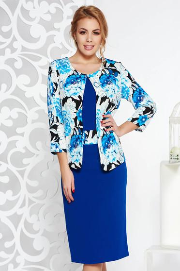 Kék elegáns midi ceruza ruha enyhén rugalmas anyag virágmintás díszítéssel c034963ebc