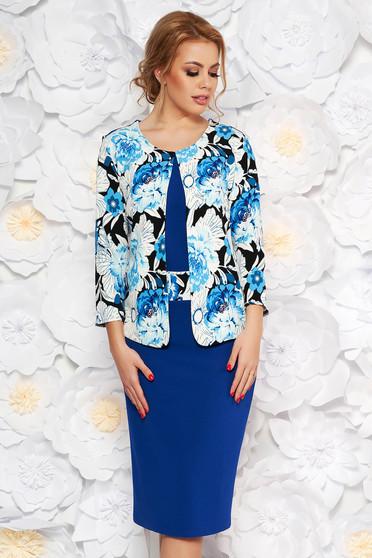 Kék elegáns midi ceruza ruha enyhén rugalmas anyag virágmintás díszítéssel