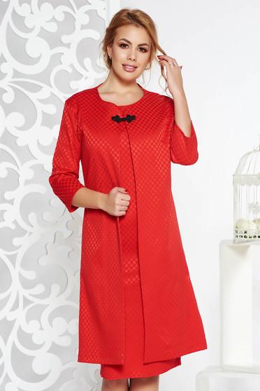 Piros elegáns női kosztüm enyhén elasztikus pamut