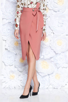 Rózsaszínű PrettyGirl szoknya irodai ceruza magas derekú enyhén elasztikus szövet átfedéses övvel ellátva